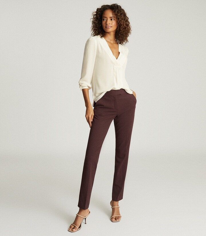 Reiss Joanne - Slim Fit Tailored Trousers in Berry