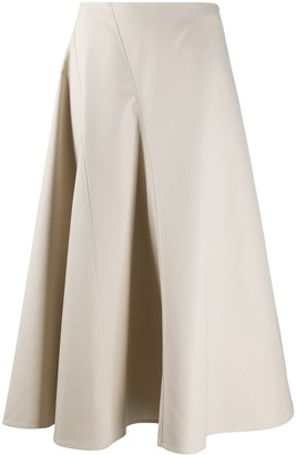 Deveaux Faux Leather Midi Skirt