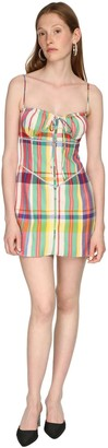 Area Check Rainbow Plaid Wool Mini Dress