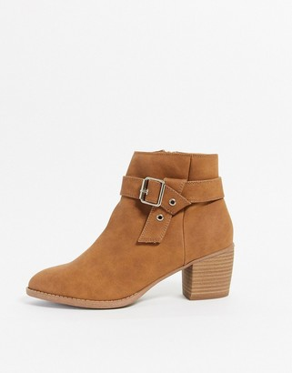 Call it SPRING carnellia heeled ankle boot with buckle in tan