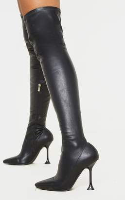 Indigo Black Cake Stand Thigh High Sock Boot