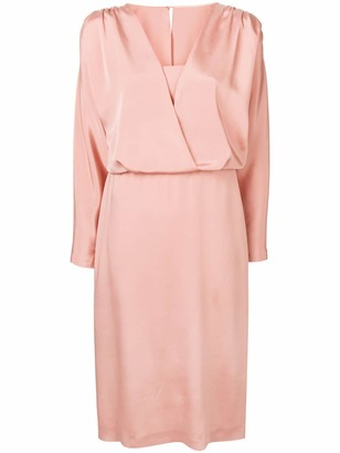 Alberta Ferretti satin V dress
