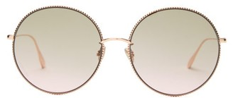 Christian Dior Diorsociety2f Chain-rim Round Metal Sunglasses - Womens - Copper