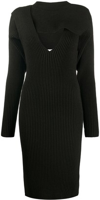 Bottega Veneta Asymmetric Ribbed Midi-Dress