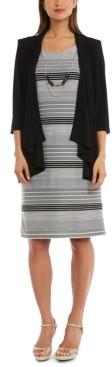 R & M Richards Jacket & Striped Necklace Dress