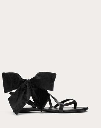 Valentino Soft Bow Flat Flip-flop Sandal Women Black Silk 100% 35