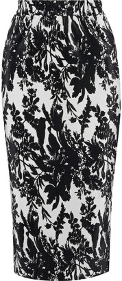 GOEN.J Printed Plisse-satin Pencil Skirt