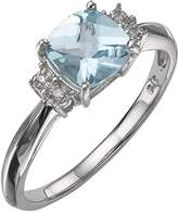 Love GEM 9 Carat White Gold Diamond-Set Blue Topaz Ring
