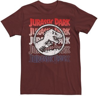 Jurassic World Men's Jurassic Park Red White And Blue Title Graphic Tee