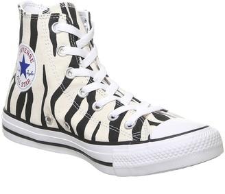 Converse All Star Hi Trainers Black Greige White Zebra