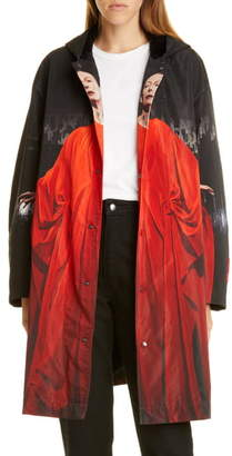 Undercover Suspiria Print Faux Shearling Lined Hooded Raincoat