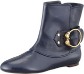 Alexander McQueen Twin-Skull-Buckle Flat Ankle Boot, Navy