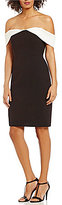 Calvin Klein Off-the-Shoulder Colorblock Sheath Dress