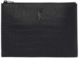 Saint Laurent Black Croc Monogramme iPad Pouch