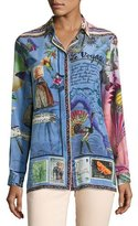 Etro Postcard-Print Long-Sleeve Tunic, Blue