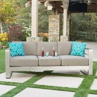 Christopher Knight Home Cape Coral Outdoor Loveseat Sofa with Tray