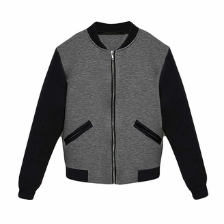 xpaccessories Women's Contrast Fleece Bomber Jacket Charcoal/S