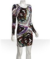 twilight abstract printed jersey drape dress