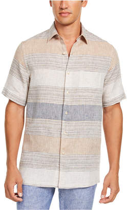 Tasso Elba Men Cannela Linen Striped Shirt