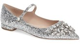 Miu Miu Women's Crystal Pointy Toe Mary Jane