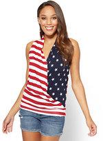 New York & Co. Sleeveless Wrap Top - Stars & Stripes