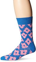 Happy Socks Men's 1pk Unisex Combed Cotton Crew-Blue/Pink Lily