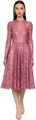 Dolce & Gabbana Flared Chantilly Lace Lame Midi Dress