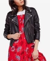 Free People Studded Faux-Leather Moto Jacket