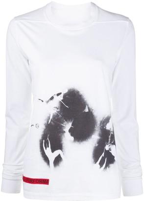 Rick Owens long sleeve ink print T-shirt