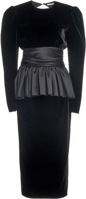 Alessandra Rich Satin-Trimmed Velvet Open-Back Midi Dress