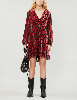 The Kooples V-neck velvet and woven midi dress