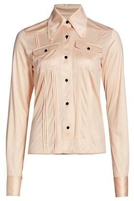 Victoria Beckham Slim-Fit Pintuck Silk Shirt