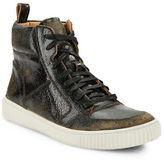 John Varvatos Cracked Leather Hi-Top Sneakers