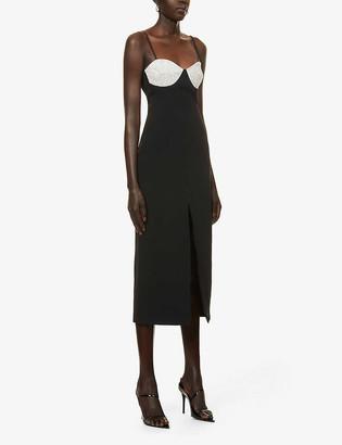 David Koma Embellished crepe midi dress