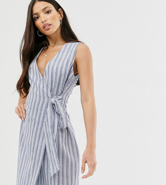 Glamorous Tall wrap front dress in textured stripe-Blue