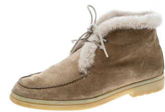 Loro Piana Beige Suede and Fur Open Walk Ankle Boots Size 36