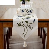 NMJNMK Dimensionl embroidery tble runner/Grden tblecloth/Coffee tble flg