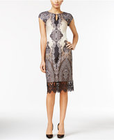 ECI Printed Crochet-Lace Sheath Dress