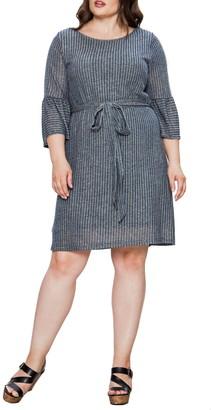 A.Calin Striped Ruffle Cuff Dress
