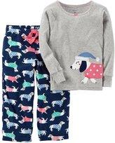 Carter's Toddler Girl Embroidered Animal Applique Top & Microfleece Bottoms Pajama Set