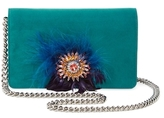 Miu Miu Embellished Feather Suede Wallet On A Chain