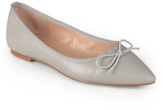 Brinley Co. Womens Classic Bow Pointed Toe Casual Ballet Flats