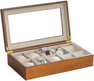 Bey-Berk Cherry Wood Six Watch & Four Pocket Watch Storage Box