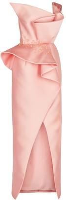 Azzi & Osta Pink one-shoulder ruffled satin gown