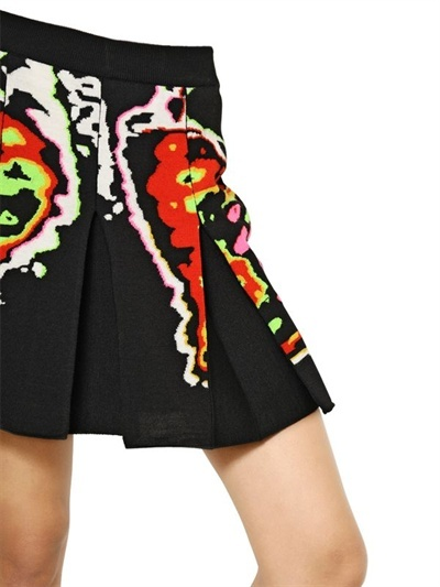 Christopher Kane Rib Cage Intarsia Pleated Cotton Skirt