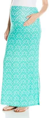 Maternal America Women's Maternity Maxi Skirt Mint Ikat Print Small