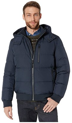 Cole Haan Soft Touch Hooded Down Bomber Jacket (Navy) Men's Coat
