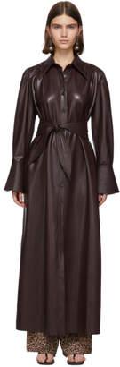 Nanushka Burgundy Vegan Leather Rosana Dress