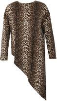Izabel London Leopard Print Asymmetric Knit Top
