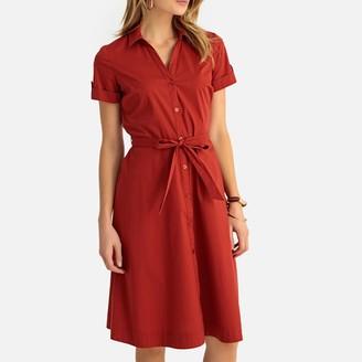 Anne Weyburn Belted Stretch Poplin Shirt Dress